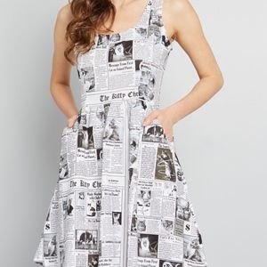 Retrolicious (ModCloth) Cat Newsprint Dress - L